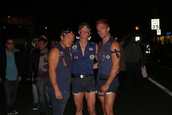 "<div class=""meta ""><span class=""caption-text "">Billy Yoder, Matt Britton and Doua Moua dressed up as Boy Scouts during the West Hollywood Halloween Costume Carnaval on Thursday, Oct. 31, 2013. (ABC7)</span></div>"