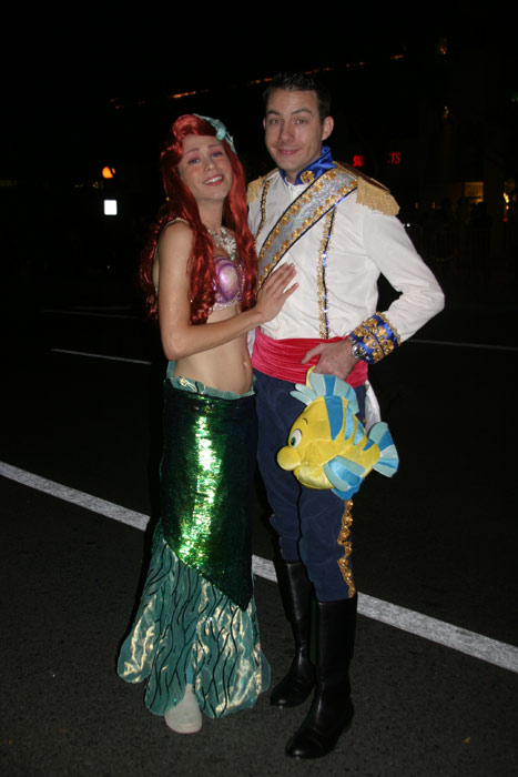 "<div class=""meta ""><span class=""caption-text "">Steven Lopez and Jesse Rollins dress up as the Little Mermaid and her prince during the West Hollywood Halloween Costume Carnaval on Thursday, Oct. 31, 2013. (ABC7)</span></div>"