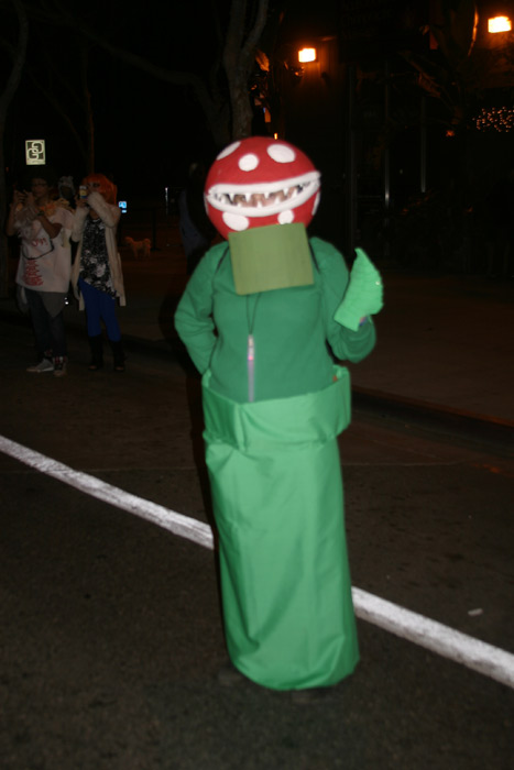 "<div class=""meta ""><span class=""caption-text "">Mary dressed up as a Super Mario Piranha Plant during the West Hollywood Halloween Costume Carnaval on Thursday, Oct. 31, 2013. (ABC7)</span></div>"