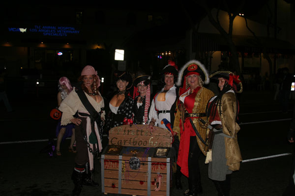 "<div class=""meta ""><span class=""caption-text "">Robin, Kim, Linda, Patti, Alice and Debbie dress up as pirates during the West Hollywood Halloween Costume Carnaval on Thursday, Oct. 31, 2013. (ABC7)</span></div>"