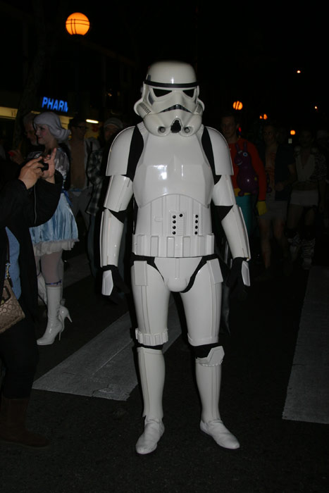 "<div class=""meta ""><span class=""caption-text "">Nick Gagano dresses up as a Stormtrooper during the West Hollywood Halloween Costume Carnaval on Thursday, Oct. 31, 2013. (ABC7)</span></div>"