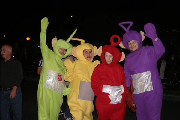 Robert Ayala, Teresa Mendoza, Gloria Diaz and John Cuevas dress up as the Teletubbies during the West Hollywood Halloween Costume Carnaval on Thursday, Oct. 31, 2013.  <span class=meta>(ABC7)</span>