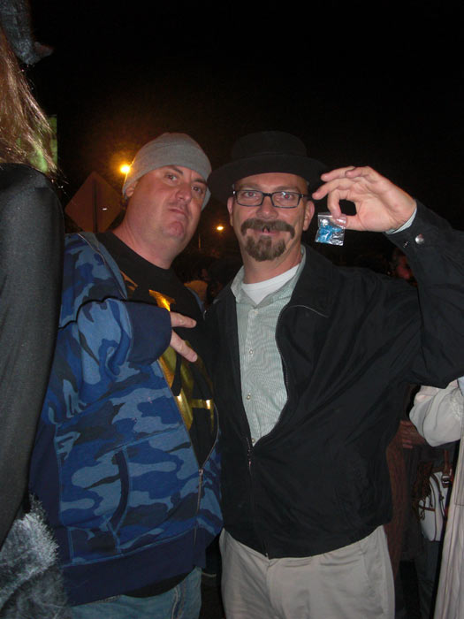 "<div class=""meta ""><span class=""caption-text "">Ken Hudson and Mark Bailey dressed up characters in 'Breaking Bad' during the West Hollywood Halloween Costume Carnaval on Thursday, Oct. 31, 2013. (ABC7)</span></div>"