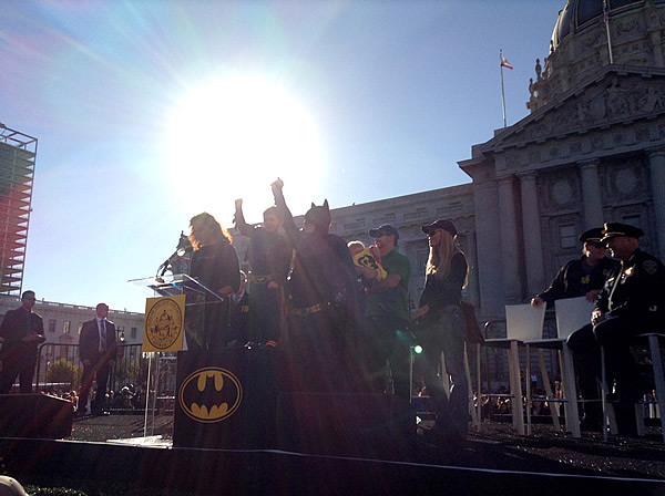 "<div class=""meta image-caption""><div class=""origin-logo origin-image ""><span></span></div><span class=""caption-text"">Batkid at San Francisco's City Hall after recieving the key to the city on Friday, Nov. 15, 2013.  Miles Scott was called into service on Friday morning by San Francisco Police Chief Greg Suhr to help fight crime, as San Francisco turned into Gotham City as city officials helped fulfill the 5-year-old leukemia patient's wish to be 'Batkid,' The Greater Bay Area Make-A-Wish Foundation says. He was diagnosed with leukemia when he was 18 months old, finished treatment in June and is now in remission. (KGO-TV)</span></div>"