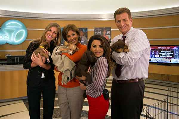 "<div class=""meta image-caption""><div class=""origin-logo origin-image ""><span></span></div><span class=""caption-text"">ABC7's Bri Winkler, Leslie Sykes, Alysha Del Valle and Phillip Palmer pose with puppies ABC7's 'Puppypalooza' on Friday, March 21, 2014.</span></div>"