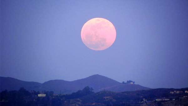 ABC7 viewer John Souder sent in this photo of the full moon from his vantage point at Lake Mathews, just east of Corona, on Saturday, May 5, 2012.