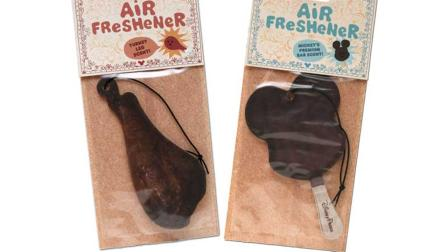 Disneys turkey leg-scented and Mickey Mouse premium ice cream bar-scented air fresheners are seen in this undated photo.