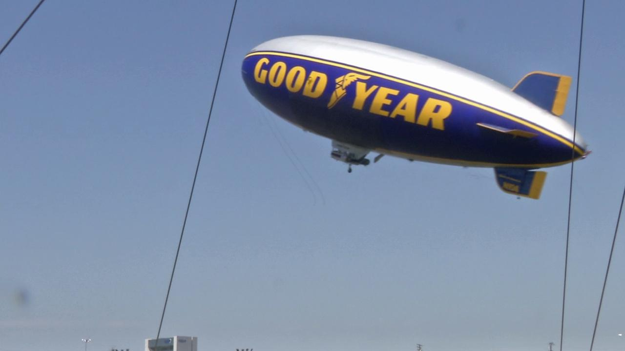 The Goodyear Blimp is seen flying in this photo. ABC7 anchor Phillip Palmer got a chance to ride the iconic blimp, which is steeped in history reaching back to the 1930s when Goodyear built airships for the Navy.