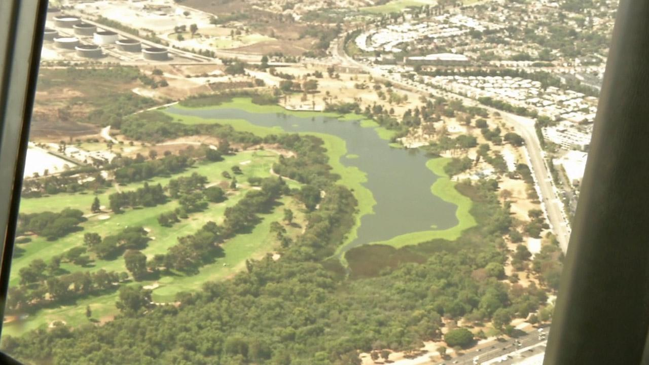 Not many people get a chance to see the view from above while soaring aboard the Goodyear Blimp. An aerial view of Lake Machado is shown aboard the blimp.