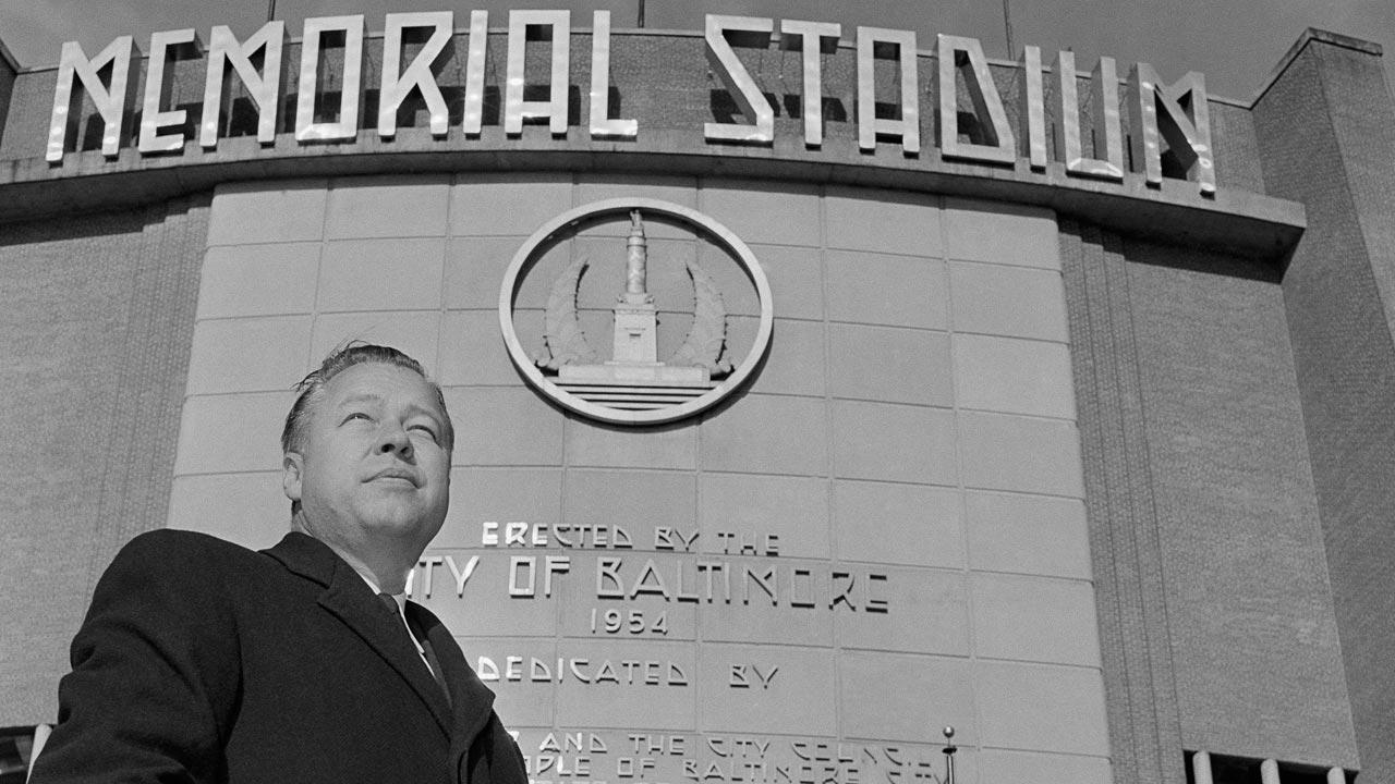 In this Dec. 11, 1959 file photo, Baltimore Orioles new president Lee MacPhail is photographed in front of the Baltimore Memorial Stadium in Baltimore, Md. Baseballs Hall of Fame says former American League President Lee MacPhail has died at 95.AP Photo/File