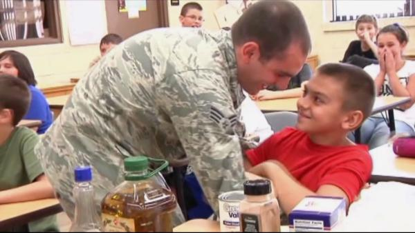US airman surprises little brother in Fla.