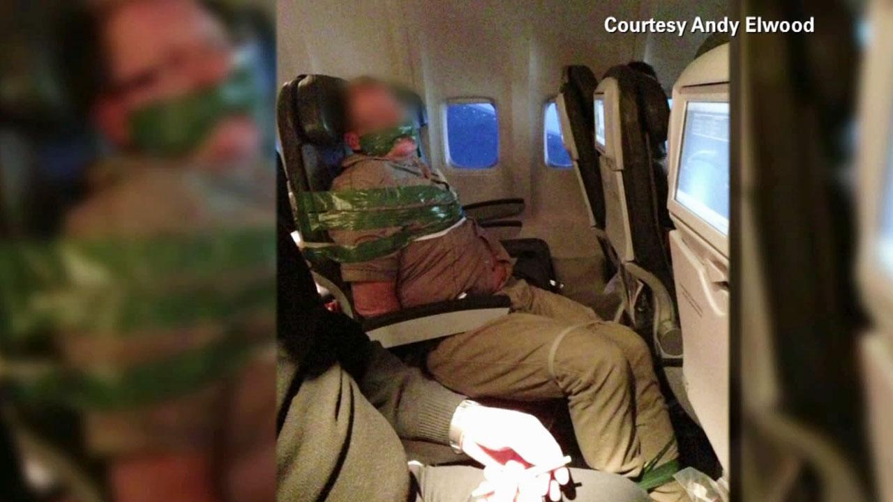 Drunk airline passenger duct-taped to seat