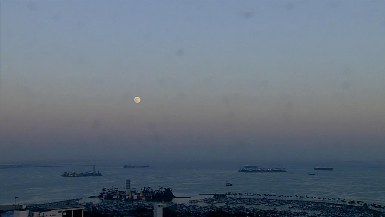The supermoon shines above Long Beach in this June 2013 photo.