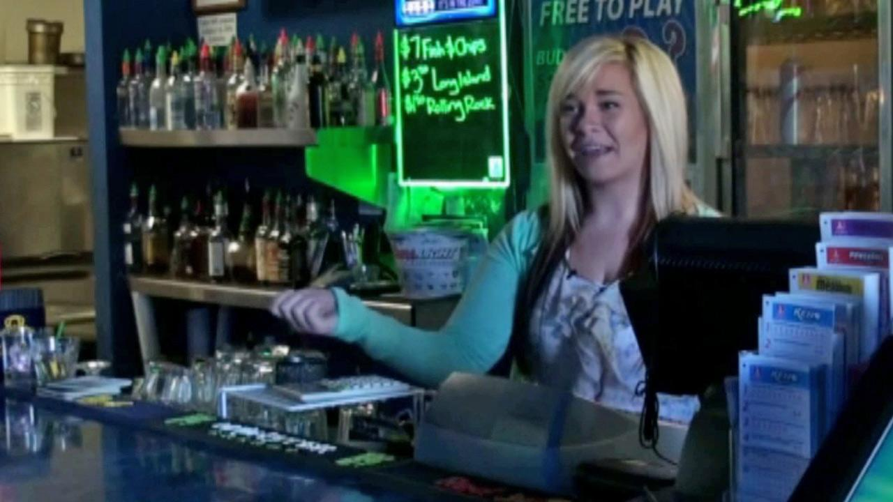 Aurora Kephart, a bartender at Conways Restaurant and Lounge in Springfield, Ore., talks about receiving a winning lotto ticket.