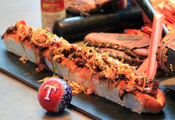 This season, the Texas Rangers unveiled the Choomongous in honor of new outfielder Shin-Soo Choo. The 24-inch Asian beef sandwich with spicy slaw and Sriracha on top a fresh baked bun costs &#36;26.   <span class=meta>(Texas Rangers)</span>