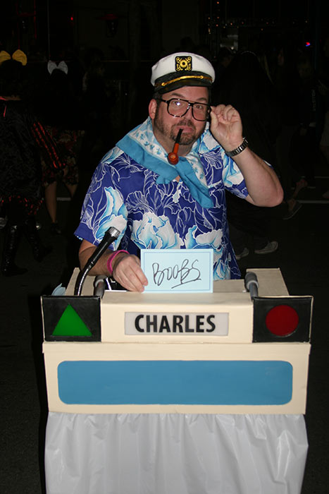 "<div class=""meta ""><span class=""caption-text "">Wayne Zaner dressed up as Charles Nelson Reilly during the West Hollywood Halloween Costume Carnaval on Thursday, Oct. 31, 2013. (ABC7)</span></div>"