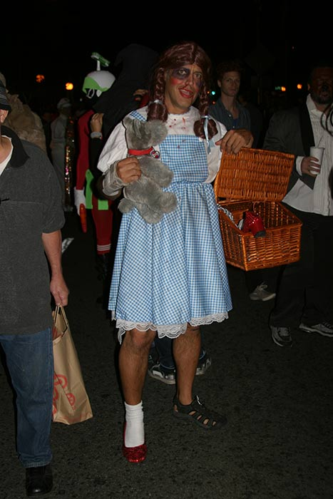 "<div class=""meta ""><span class=""caption-text "">Mario dressed up as 'Dorothy' from 'The Wizard of Oz' during the West Hollywood Halloween Costume Carnaval on Thursday, Oct. 31, 2013. (ABC7)</span></div>"