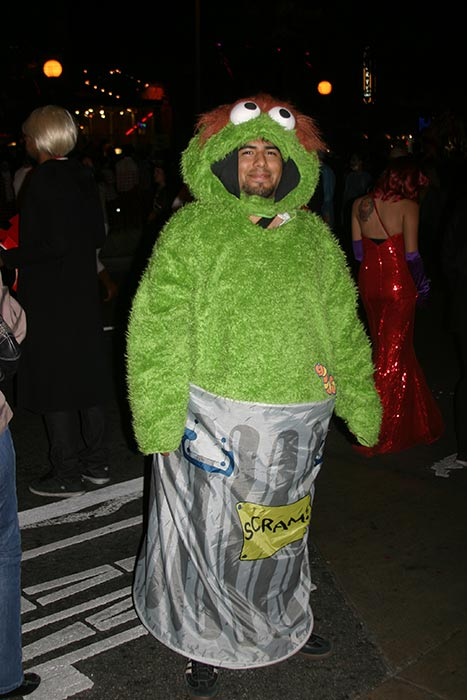 "<div class=""meta ""><span class=""caption-text "">Oscar Morales dressed up as 'Oscar the Grouch' during the West Hollywood Halloween Costume Carnaval on Thursday, Oct. 31, 2013. (ABC7)</span></div>"