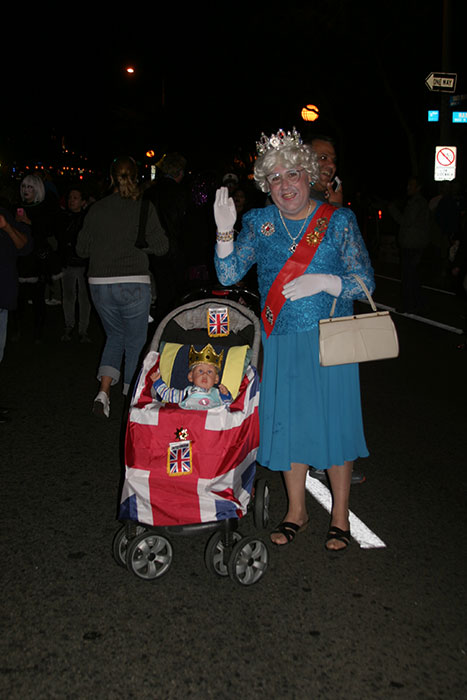 "<div class=""meta ""><span class=""caption-text "">Pete Morales dressed up as Queen Elizabeth II during the West Hollywood Halloween Costume Carnaval on Thursday, Oct. 31, 2013. (ABC7)</span></div>"