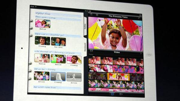 Apple's Phil Schiller shows a short film made using iMovie on the new iPad during the launch event in San Francisco on Wednesday, March 7,