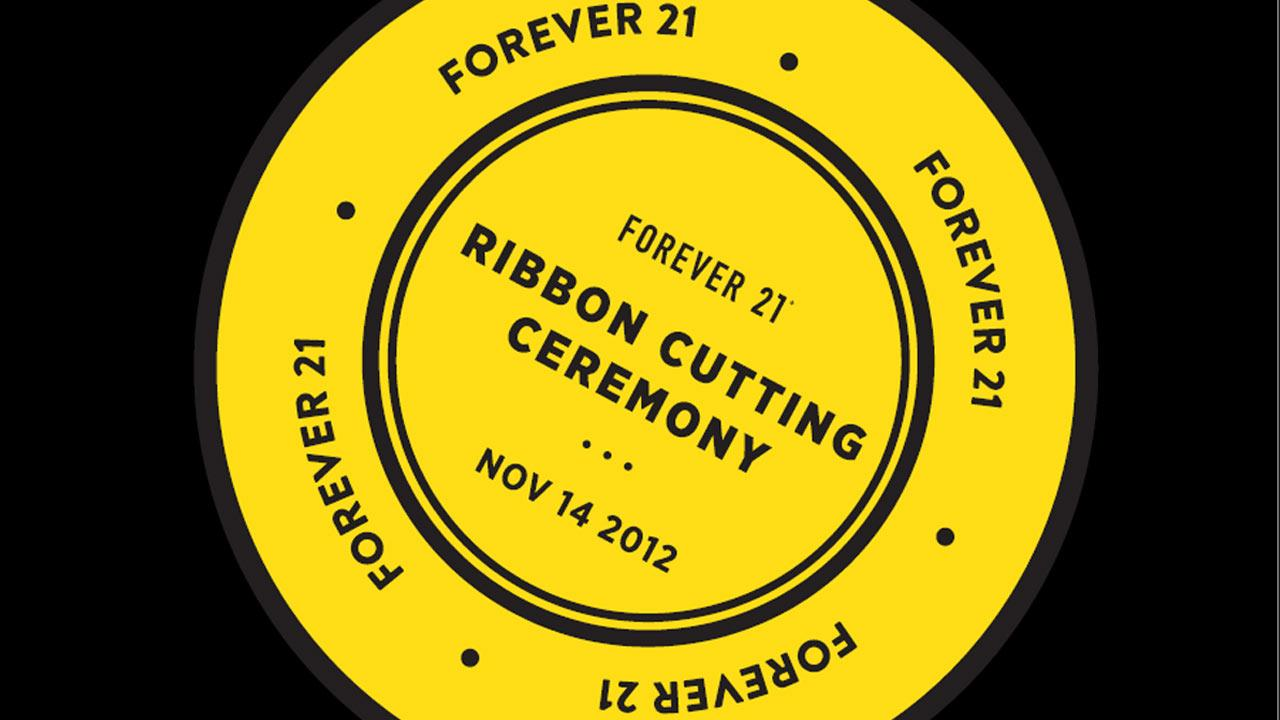 An image provided by Forever 21 indicates information for a Nov. 14, 2012 ribbon-cutting ceremony in the retailers new headquarters in Lincoln Heights.
