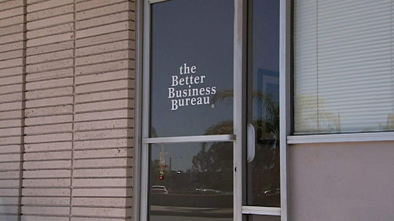 The front door of the former Southern California chapter of the Better Business Bureau, located in Colton, is seen in this undated file photo.