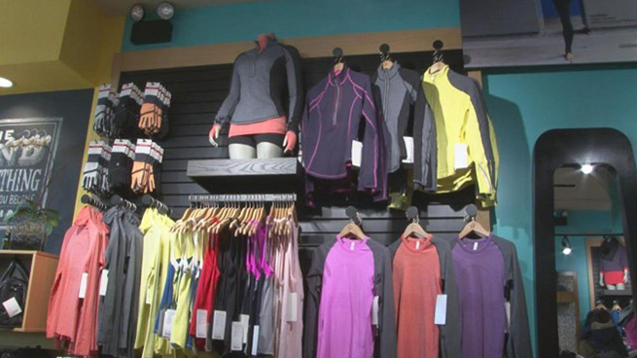 Lululemon products are seen on display at a Lululemon store.
