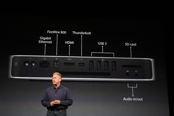 The Mac Mini is unveiled at the Apple event on...