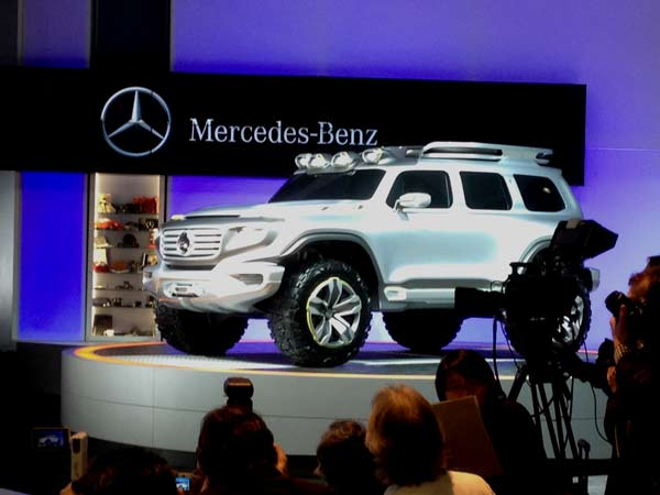 A Mercedes-Benz SUV on display at the 2012 Los Angeles Auto Show held at the Los Angeles Convention Center downtown on Wednesday, Nov. 28, 2012. <span class=meta>(KABC)</span>