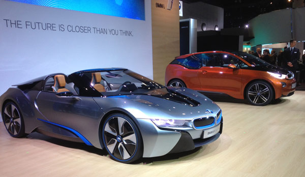 BMW models on display at the 2012 Los Angeles...