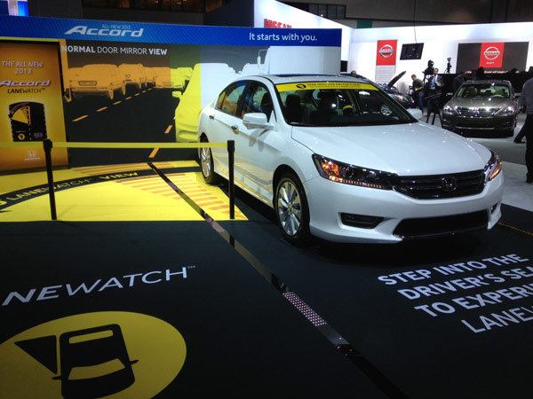 A Honda Accord model on display at the 2012 Los Angeles Auto Show held at the Los Angeles Convention Center downtown on Wednesday, Nov. 28, 2012. <span class=meta>(KABC)</span>