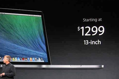 "<div class=""meta ""><span class=""caption-text "">The 13-inch MacBook Pro Retina Display, $1,299 with 128GB of storage, is introduced at an Apple launch event in San Francisco on Tuesday, Oct. 22, 2013. (ABC News/ Joanna Stern)</span></div>"