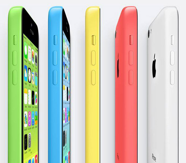 The iPhone 5C comes in five colors. It's built around a steel-reinforced frame that also acts as an antenna.