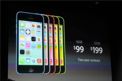 The iPhone 5C costs $99 with two-year contract for the 16GB and $199 for the 32GB with two-year contract.