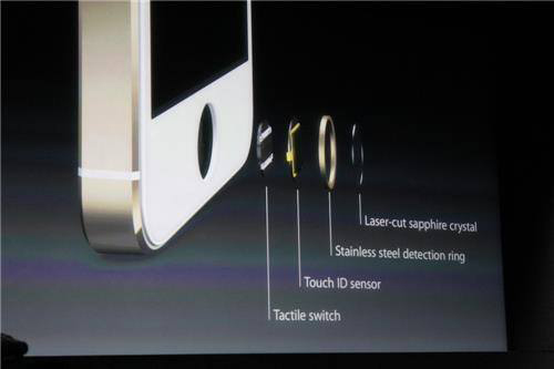 The iPhone 5S features Touch ID, a fingerprint identity sensor.
