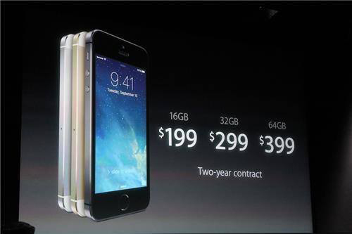 The iPhone 5S starts at $199 with a two-year contract for the 16GB.