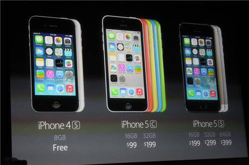 The iPhone line-up is shown on Tuesday, Sept. 10, 2013. The iPhone 5 will be discontinued.