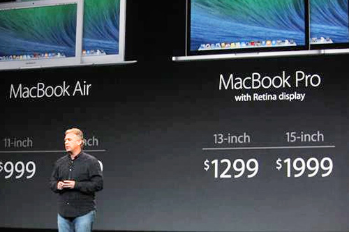 "<div class=""meta ""><span class=""caption-text "">The 15-inch MacBook Pro with Retina display, $1,999, is introduced at an Apple launch event in San Francisco on Tuesday, Oct. 22, 2013. (ABC News/ Joanna Stern)</span></div>"