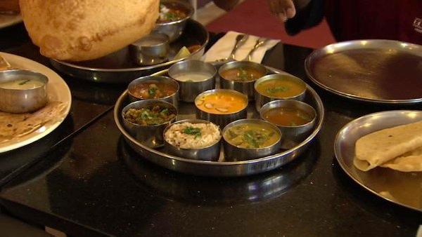 Always arrive hungry at Udupi Palace restaurant, which specializes in Southern Indian vegetarian meals.