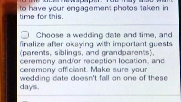 Brides can download 'My Mobile Checklist,' an app to help stay on task.