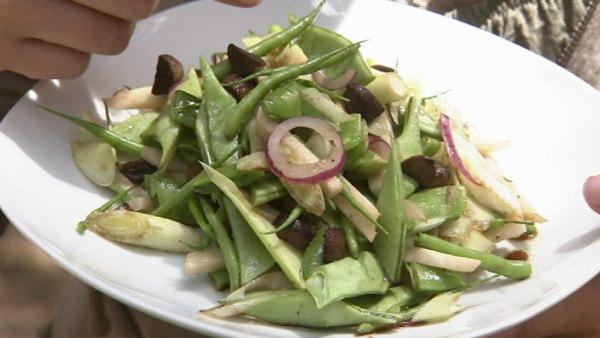 Freshly-picked wild radishes and acorns complement the crunchy salad