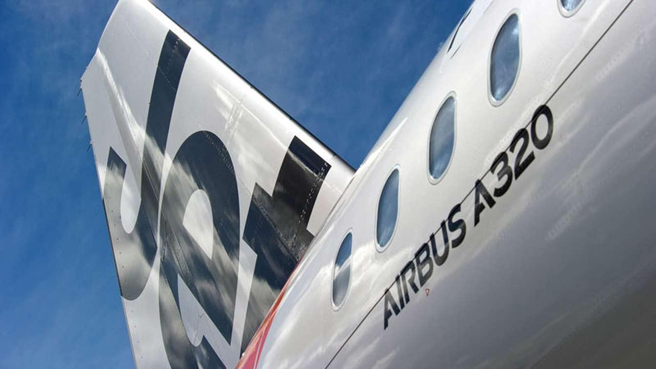 The rear of an Airbus A320 plane is seen in this undated file photo.