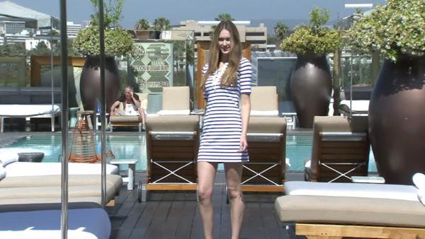First up, think nautical. For example, this Juicy Couture dress pairs navy blue and white stripes with sailor-inspired details.