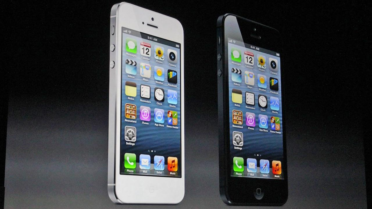White and black iPhone 5 phones are shown in this photo taken at an Apple conference held in San Francisco on Wednesday, Sept. 12, 2012.