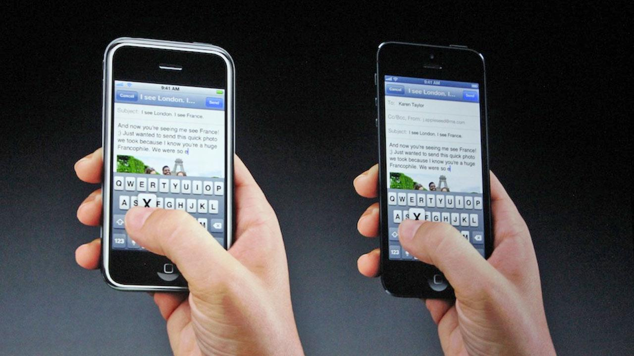 The email function of the new iPhone 5 is demonstrated in this photo taken at an Apple event in San Francisco, Wednesday Sept. 12, 2012.Joanna Stern