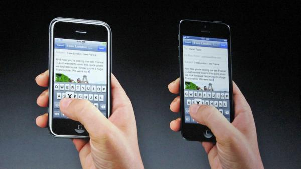 The email function of the new iPhone 5 is demonstrated in this photo taken at an Apple event in San Francisco, Wednesday Sept. 12, 2012.