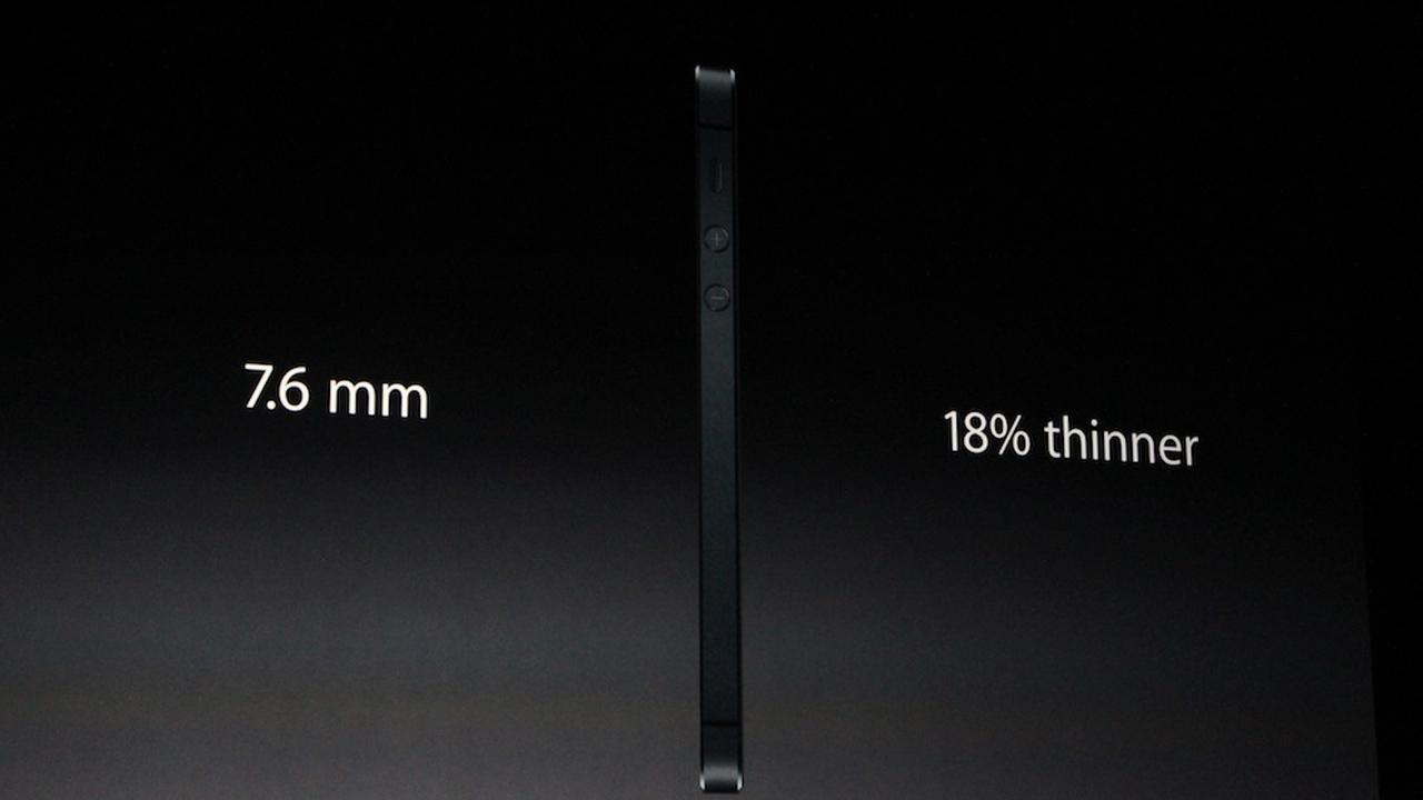 The iPhone 5 is shown in this photo taken at an Apple event in San Francisco, Wednesday Sept. 12, 2012. The compnay says its the thinnest model so far, measuring 7.6 mm, which is 18 percent thinner than the previous model. <span class=meta>(Joanna Stern)</span>