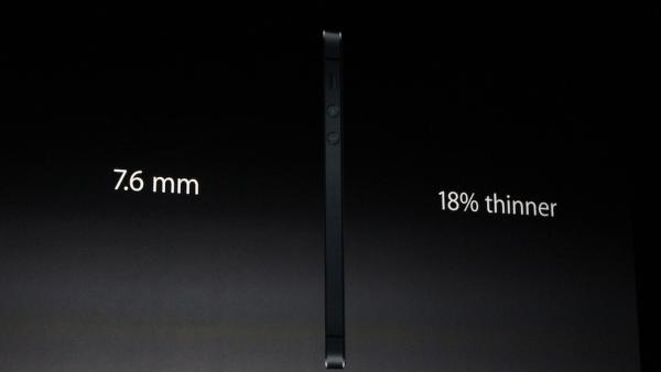 The iPhone 5 is shown in this photo taken at an Apple event in San Francisco, Wednesday Sept. 12, 2012. The compnay says it's the thinnest model so far, measuring 7.6 mm, which is 18 percent thinner than the previous model.