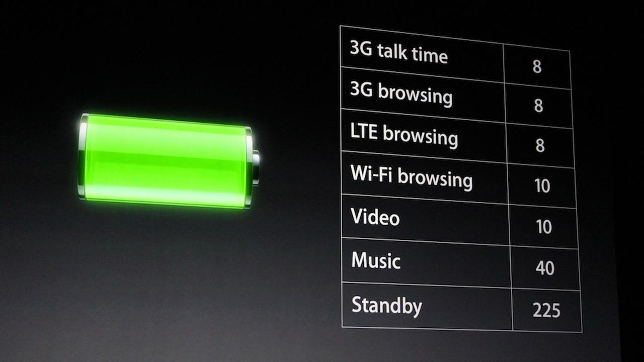 The iPhone 5s battery life is outlined in this photo taken at an Apple event in San Francisco, Wednesday Sept. 12, 2012. The new phone has eight hours of talk time and eight hours of Web browsing. <span class=meta>(Joanna Stern)</span>