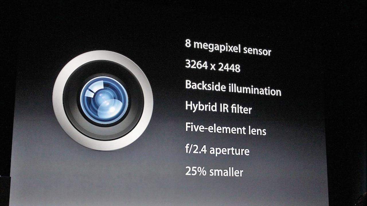 The iPhone 5 has an 8-megapixel camera (iSight) with special features to eliminate noise in images and perform better in low light. <span class=meta>(Joanna Stern)</span>
